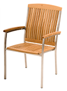 Teak Chairs – Cornwall Stacking Stainless